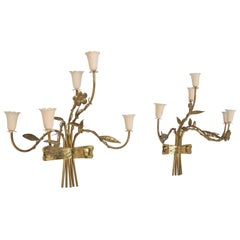 1950s Style Gio Ponti Pair of Graceful Italian Wall Sconces in Brass 5-Arm