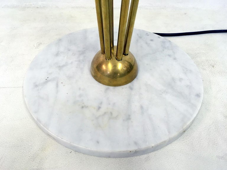 Contemporary 1950s Style Italian Glass Ball and Brass Floor Lamp For Sale