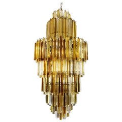 1950s Style Skyscraper Chandelier Murano Blown Glass Clear Amber Smoke Italian