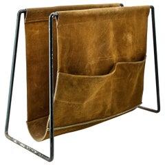 1950s Suede Leather Bachelor Pocketed Magazine Rack Scandinavian Cabinmodern