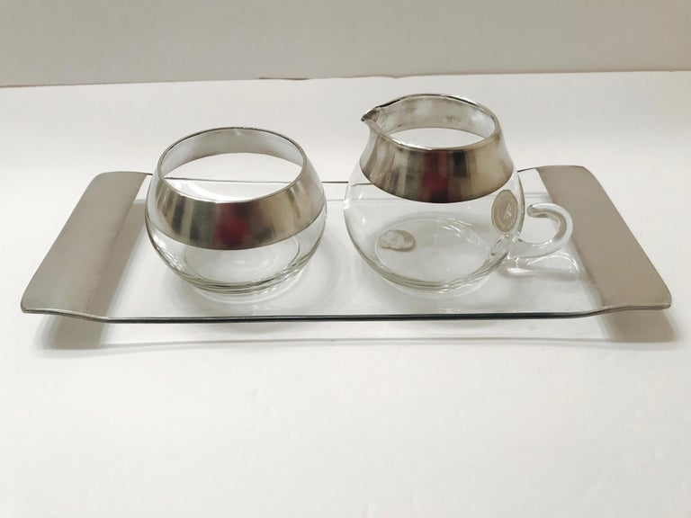 1950s Sugar and Creamer Set with Sterling Silver Overlay by Dorothy Thorpe  For Sale 6