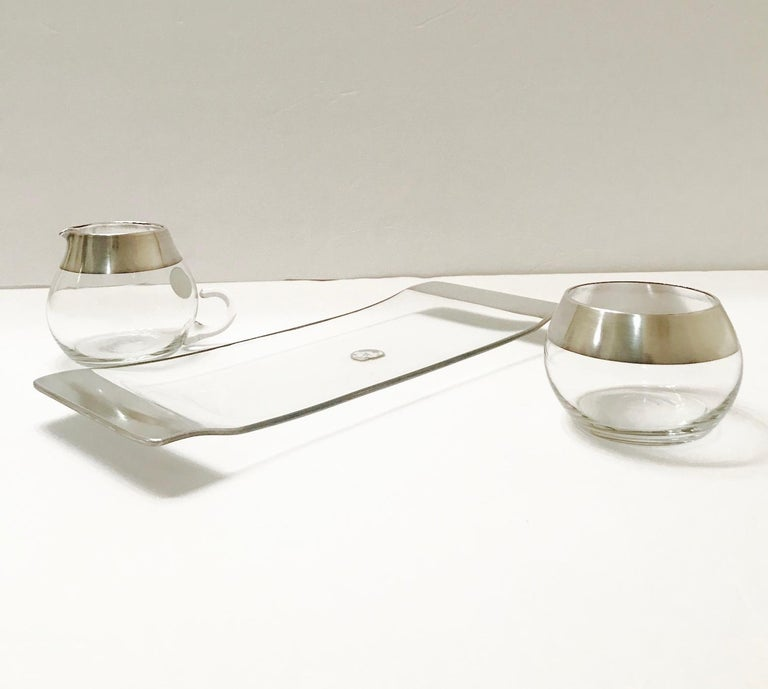 1950s Sugar and Creamer Set with Sterling Silver Overlay by Dorothy Thorpe  For Sale 7