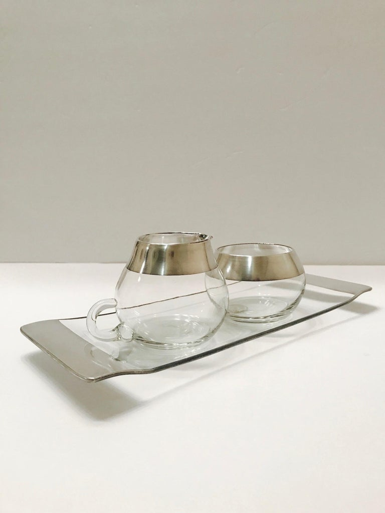 Mid-Century Modern 1950s Sugar and Creamer Set with Sterling Silver Overlay by Dorothy Thorpe  For Sale