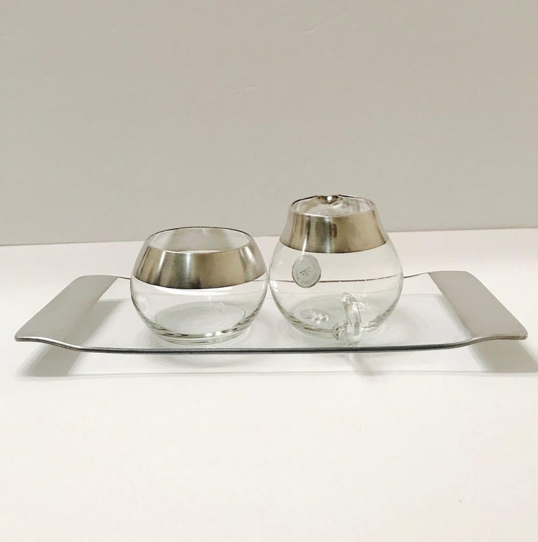 American 1950s Sugar and Creamer Set with Sterling Silver Overlay by Dorothy Thorpe  For Sale