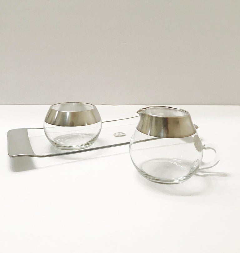 1950s Sugar and Creamer Set with Sterling Silver Overlay by Dorothy Thorpe  In Good Condition For Sale In Miami, FL