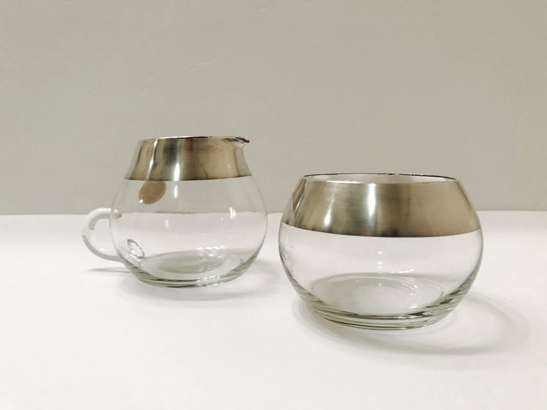 Blown Glass 1950s Sugar and Creamer Set with Sterling Silver Overlay by Dorothy Thorpe  For Sale