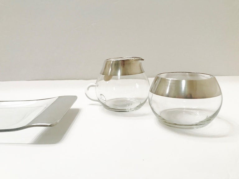 1950s Sugar and Creamer Set with Sterling Silver Overlay by Dorothy Thorpe  For Sale 1