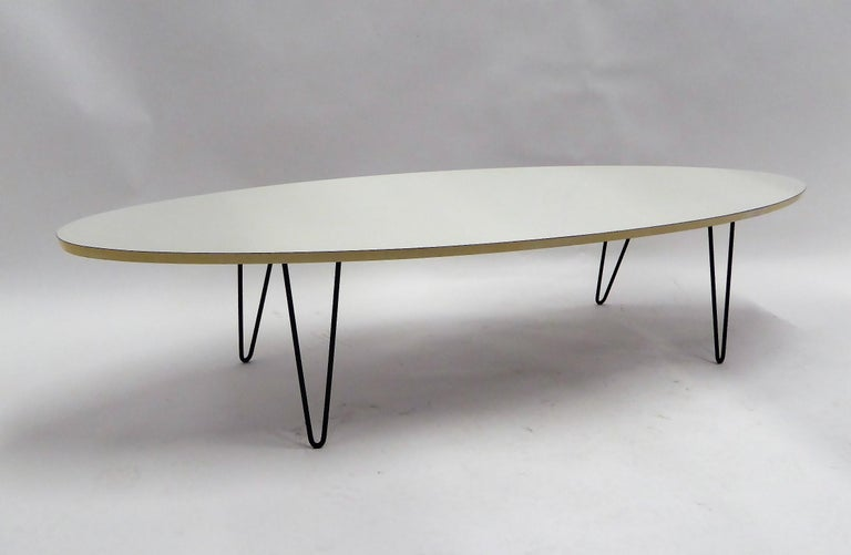 1950s Surfboard Coffee Table on Hairpin Legs Eames Style For Sale 4