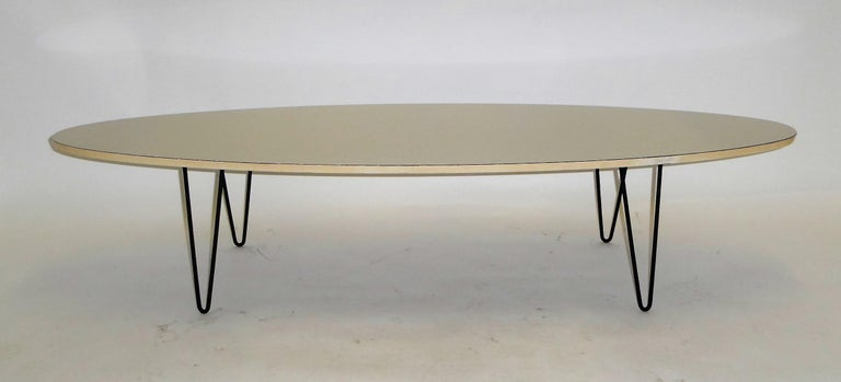 1950s Surfboard Coffee Table on Hairpin Legs Eames Style For Sale 5