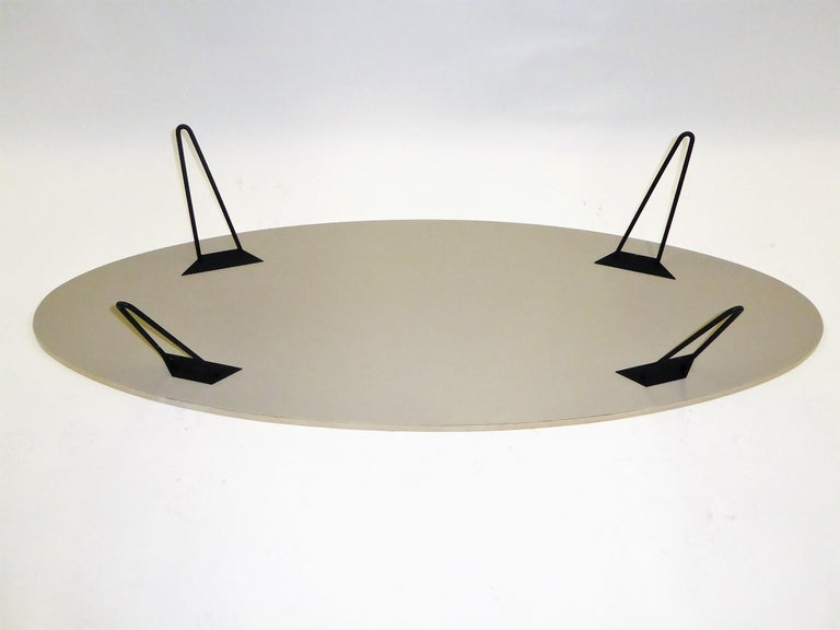 1950s Surfboard Coffee Table on Hairpin Legs Eames Style For Sale 6