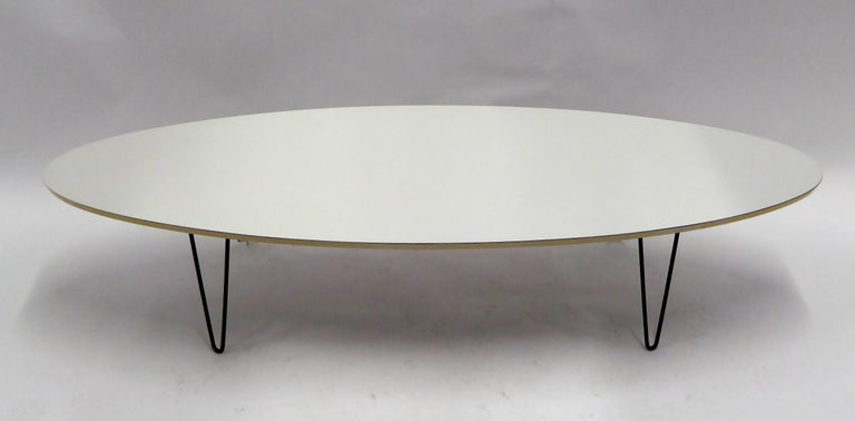 Mid-Century Modern 1950s Surfboard Coffee Table on Hairpin Legs Eames Style For Sale