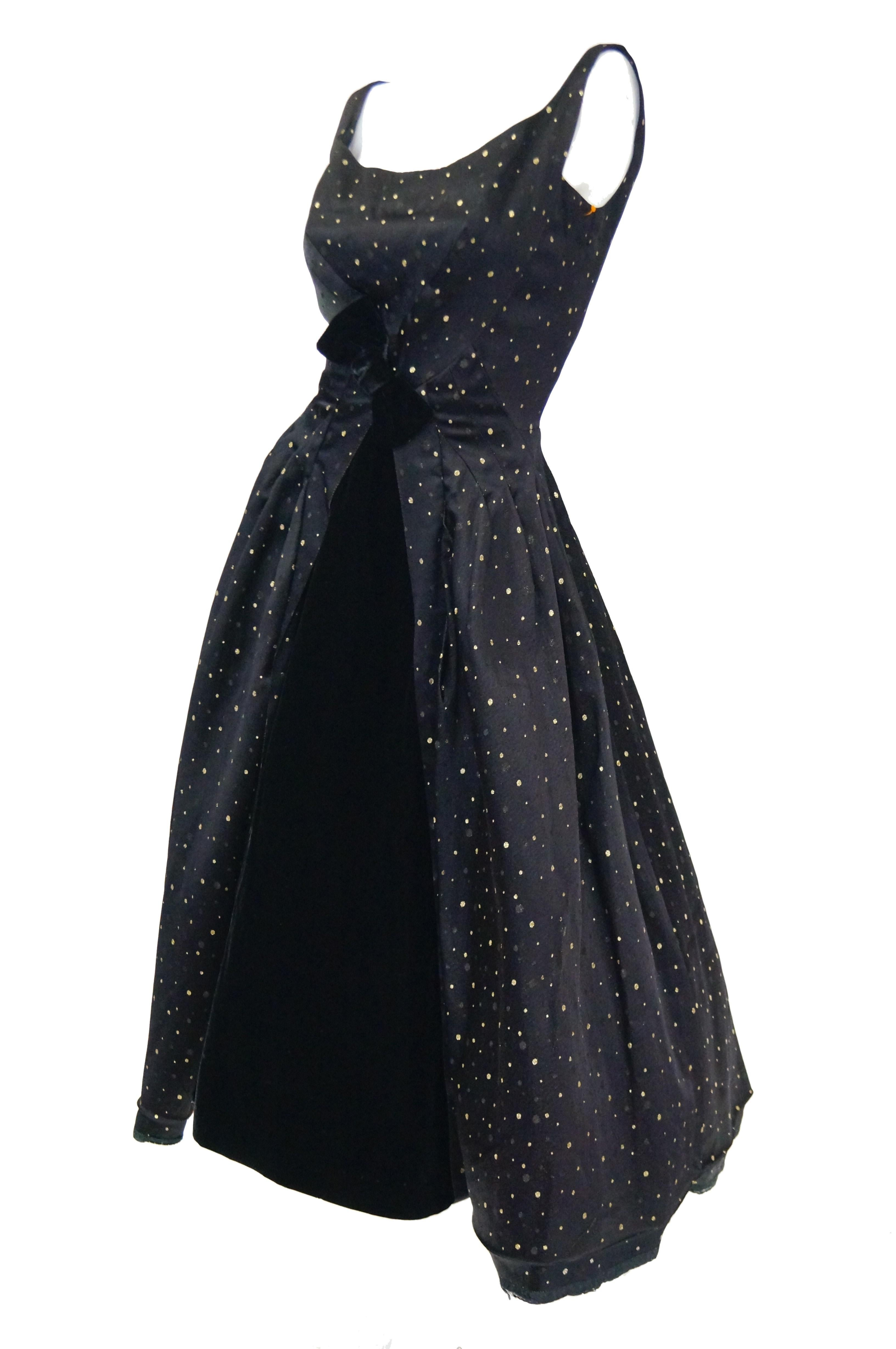 e149eb4e1cd 1950s Suzy Perette Black and Gold New Look Evening Dress with Shimmer Dot  and