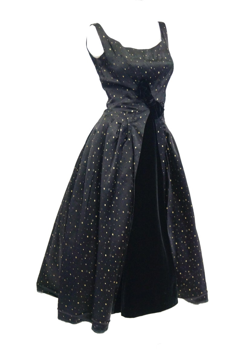 6a1e95d0 Women's 1950s Suzy Perette Black and Gold New Look Evening Dress with  Shimmer Dot and For