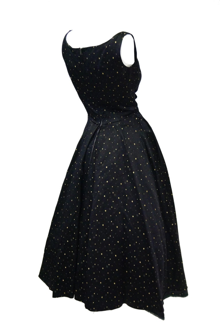 1950s Suzy Perette Black and Gold New Look Evening Dress with Shimmer Dot and  For Sale 3