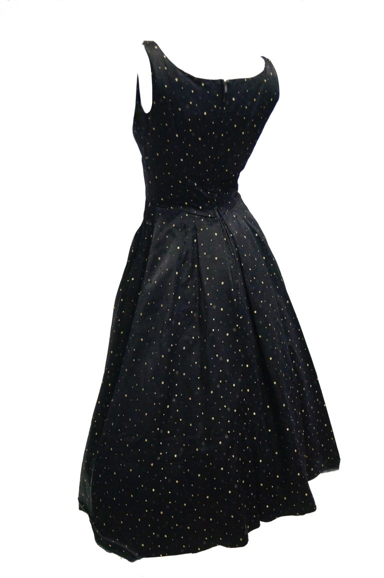 1950s Suzy Perette Black and Gold New Look Evening Dress with Shimmer Dot and  For Sale 4