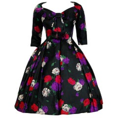 1950's Suzy Perette Rose-Garden Floral Print Silk Bow Plunge Full Party Dress