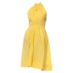 1950S SUZY PERETTE Yellow Cotton Halter A Line Dress With Pleated Diamond Insets