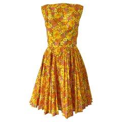1950s Suzy Perette Yellow Pink Orange Daisy Print Cotton Vintage 50s Dress