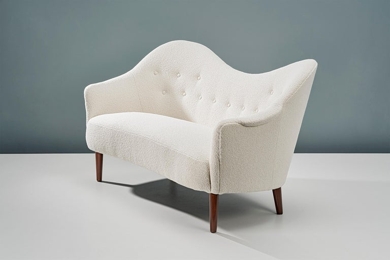 Wool 1950s Swedish Boucle Samspel Sofa by Carl Malmsten For Sale