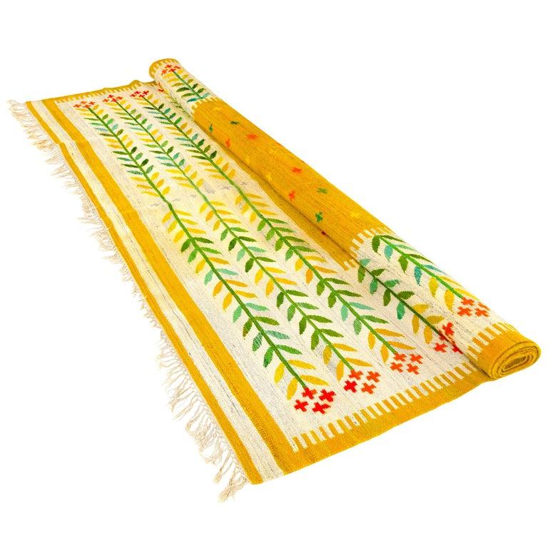 1950s Swedish Handwoven Wool Rug For Sale