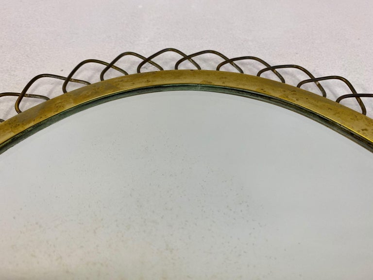 1950s Swedish Patinated Brass Mirror with Wire Decoration For Sale 5
