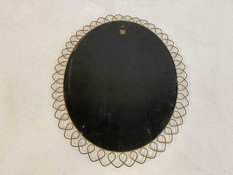 1950s Swedish Patinated Brass Mirror with Wire Decoration For Sale 6