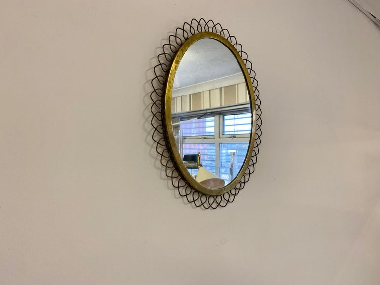 Mid-Century Modern 1950s Swedish Patinated Brass Mirror with Wire Decoration For Sale