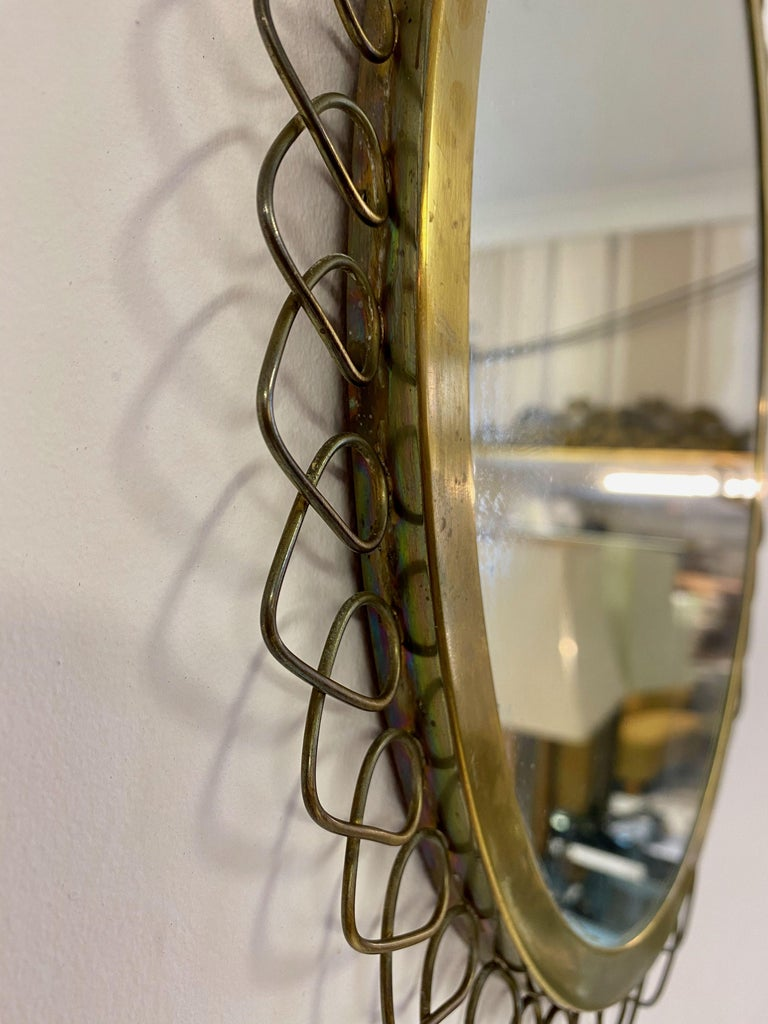 1950s Swedish Patinated Brass Mirror with Wire Decoration In Good Condition For Sale In London, London