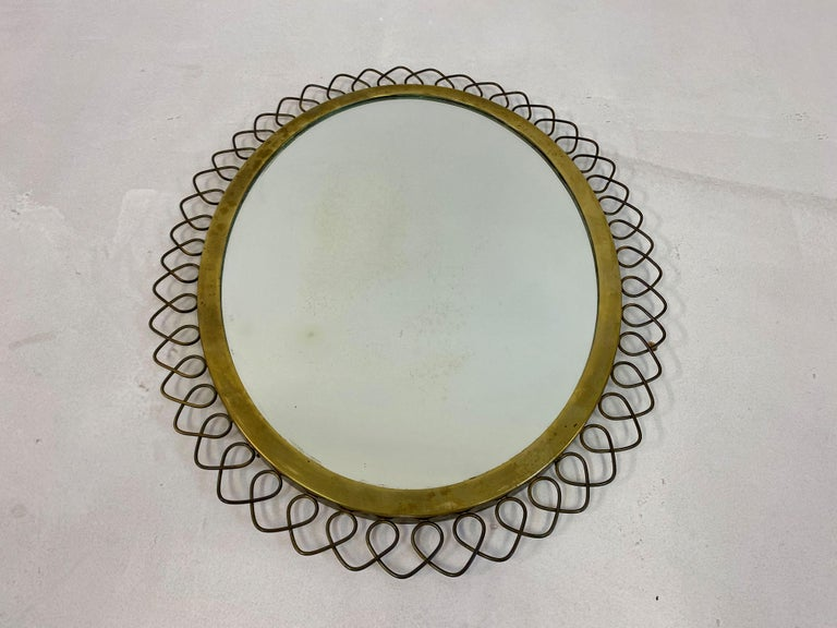 20th Century 1950s Swedish Patinated Brass Mirror with Wire Decoration For Sale