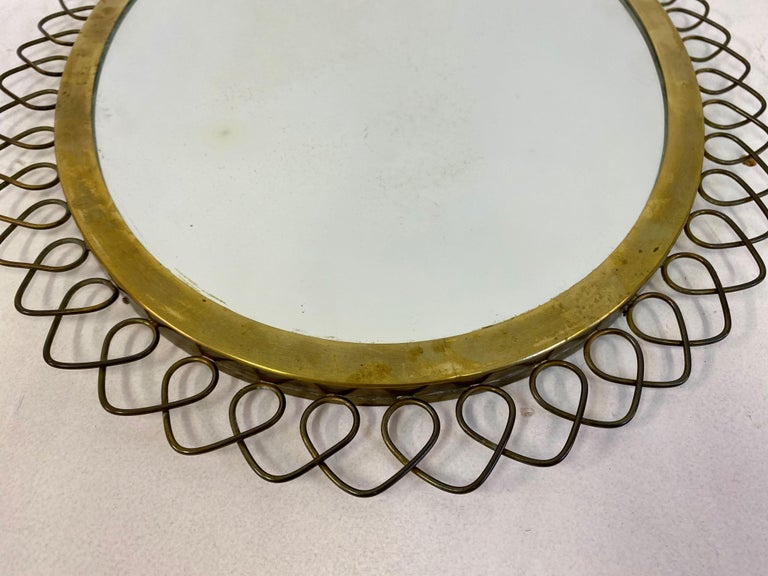 1950s Swedish Patinated Brass Mirror with Wire Decoration For Sale 1