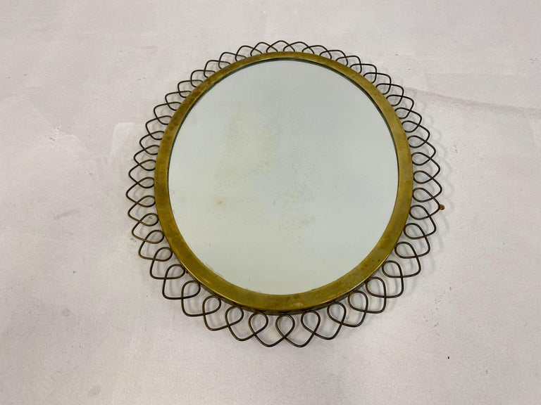 1950s Swedish Patinated Brass Mirror with Wire Decoration For Sale 4