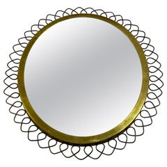 1950s Swedish Patinated Brass Mirror with Wire Decoration