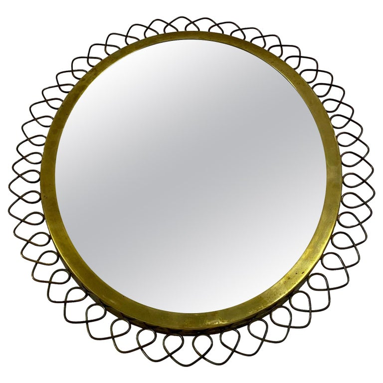 1950s Swedish Patinated Brass Mirror with Wire Decoration For Sale