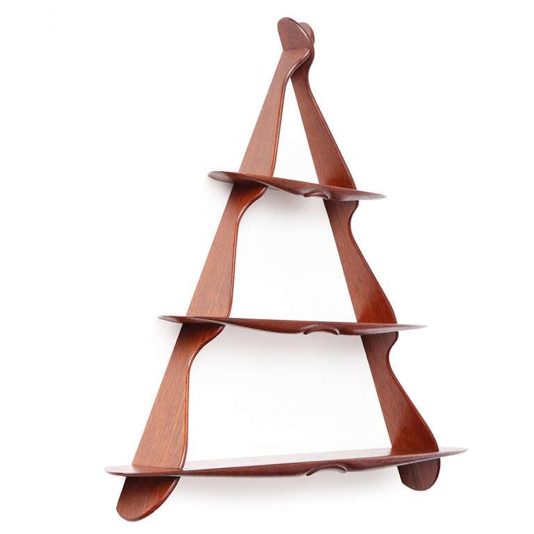 Scandinavian Modern 1950s Swedish Triangular Three-Tiered Shelf For Sale