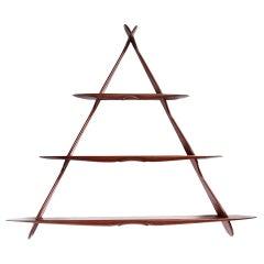 1950s Swedish Triangular Three-Tiered Shelf