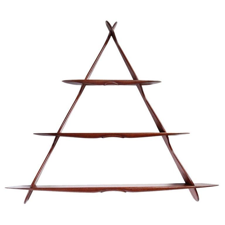 1950s Swedish Triangular Three-Tiered Shelf For Sale