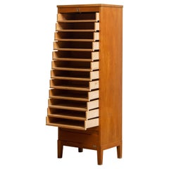 1950s, Swedish Up Right Oak Tambour Files / Archive Cabinet by Olof Lundqvist