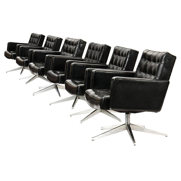 1950s Swivel Chair by Vincent Cafiero for Knoll in Black Leather