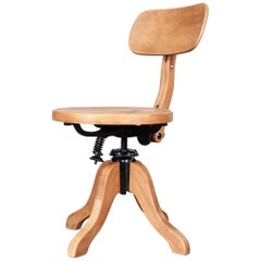 1950s Swiveling Wood Desk/Office Chair by Thonet