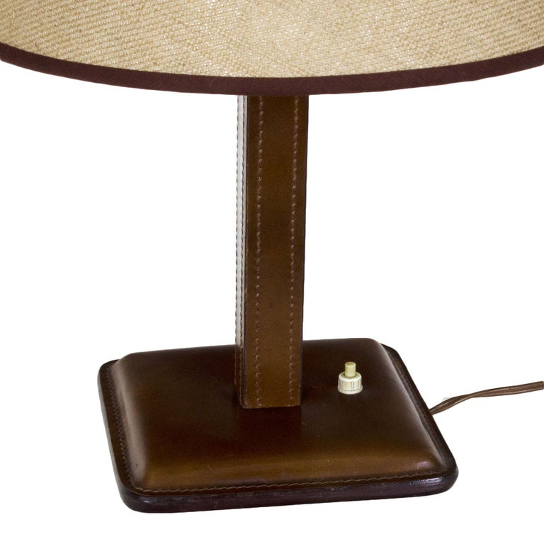Mid-Century Modern 1950s Table Lamp, Leather, Light Thread Sewing, Jute Lampshade, Spain For Sale