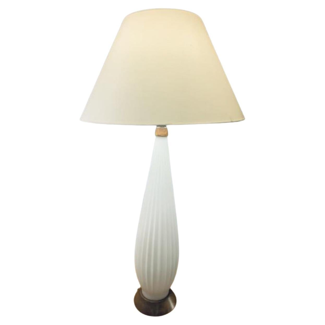 1950s Tall Alfredo Barbini Style Ribbed Opaque White Glass & Wood Table Lamp