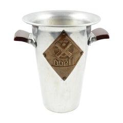 1950s Tall Aluminum Advertising Ice Bucket Wine Cooler