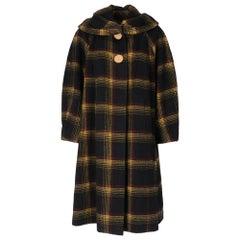 1950s Tartan Black And Yellow Coat
