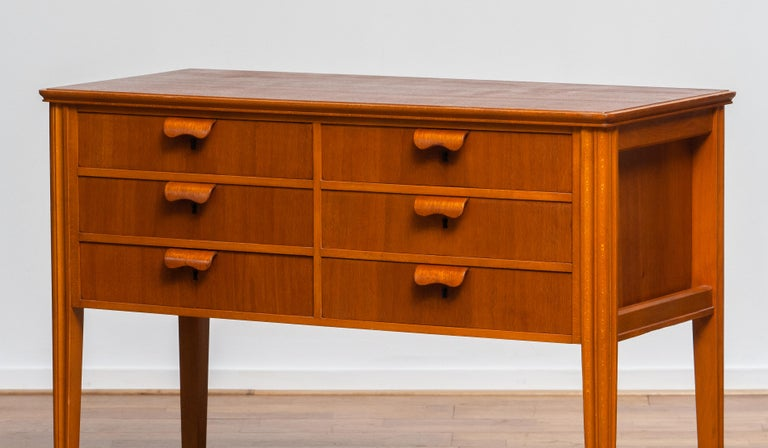 Scandinavian Modern 1950s, Teak and Beech Chest of Drawers by Ferdinand Lundquist For Sale