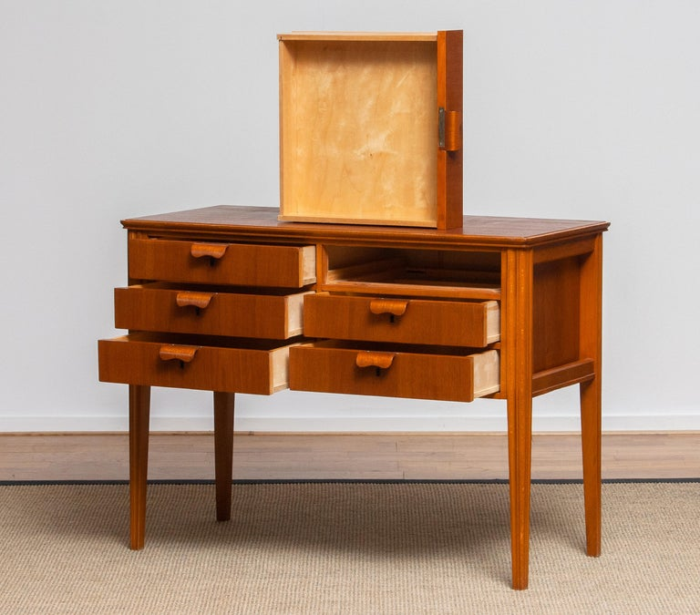 Swedish 1950s, Teak and Beech Chest of Drawers by Ferdinand Lundquist For Sale