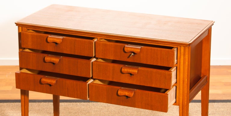 Mahogany 1950s, Teak and Beech Chest of Drawers by Ferdinand Lundquist For Sale