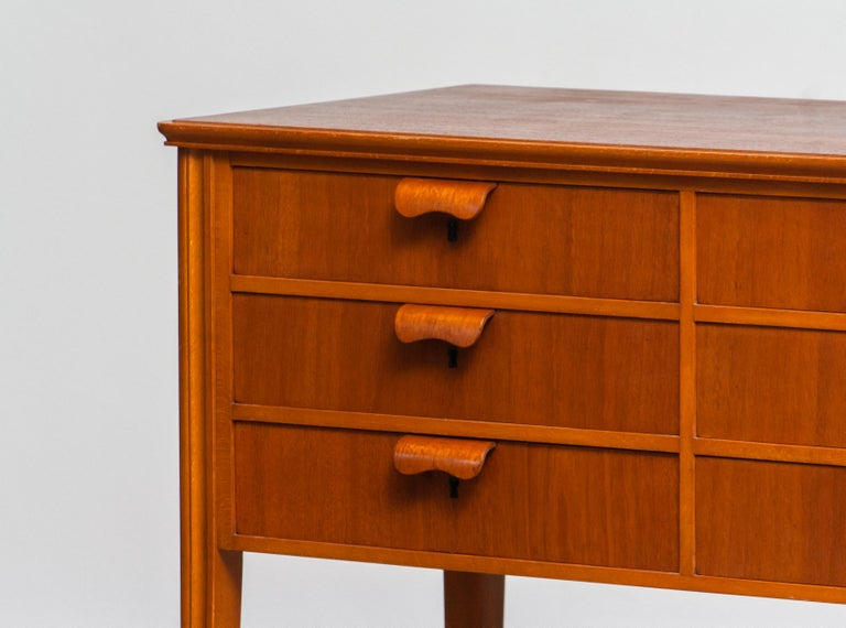 Mid-20th Century 1950s, Teak and Beech Chest of Drawers by Ferdinand Lundquist For Sale