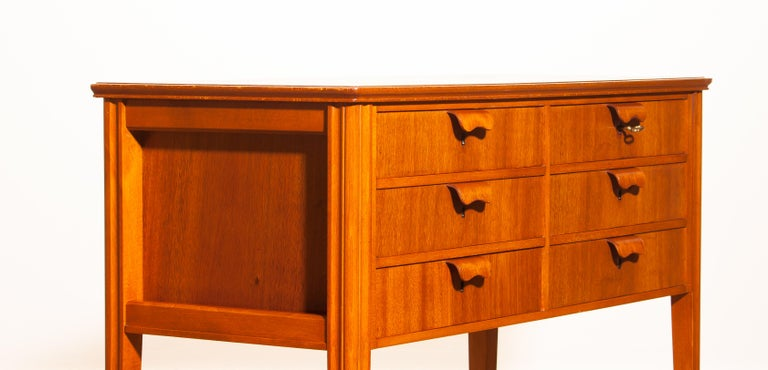 1950s, Teak and Beech Chest of Drawers by Ferdinand Lundquist For Sale 1