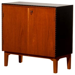 1950s, Teak and Black Skai Minibar Cabinet by Bertil Fridhagen for Bodafors