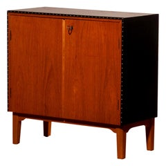 1950s, Teak and Black Skai Minibar Cabinet by Bertil Fridhagen for Bodafors